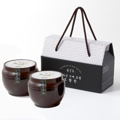한라산 가마솥 흑통마늘 조청세트/500gx2통