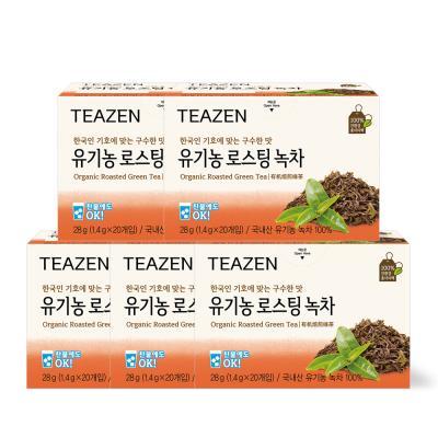 티젠 유기농 로스팅 녹차 100티백(20티백x5박스)