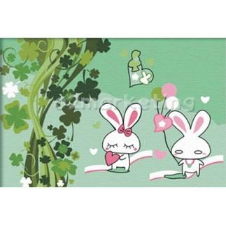 DIY 명화그리기 - DIY  토끼의사랑 (C027) 20x30 그림 (유화/그림그리기/직접그리기/아크릴/취미/색칠)