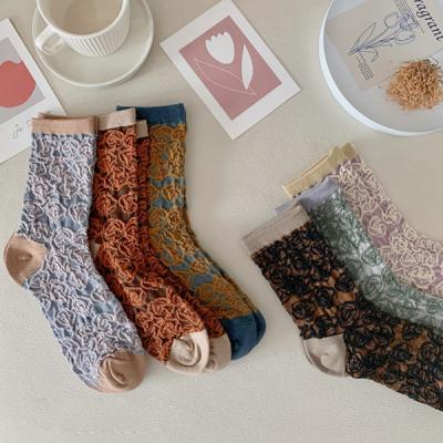 모이클 중목 꽃무늬 패션 양말