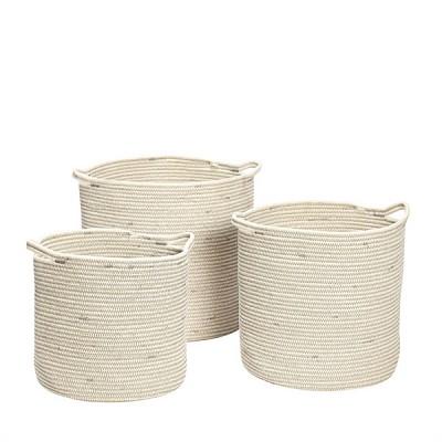 [Hubsch]Basket w/handles,round,white,set 3 368006 수납함