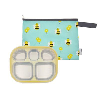 스텐 도시락식판 옐로우 꿀벌대모험 파우치세트