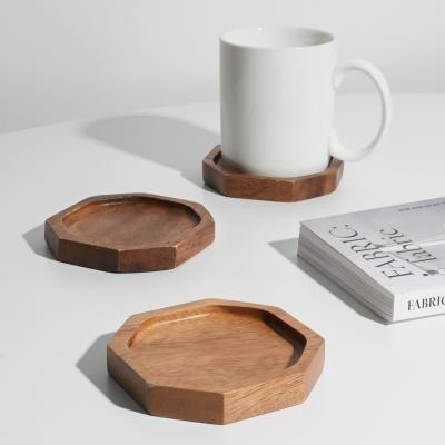 롬우드 팔각 원목 컵받침