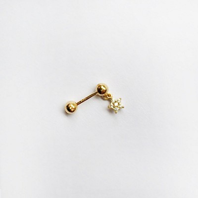 14k gold star drop piercing