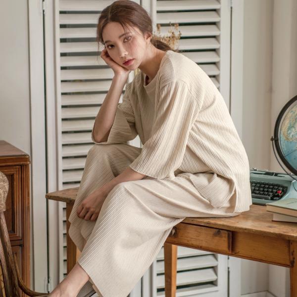 테라우드 여성용 코지 플리츠 홈웨어 잠옷 상하 세트