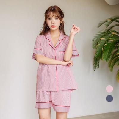 [쿠비카]스트라이프 파이핑 3부 투피스 여성잠옷 W599