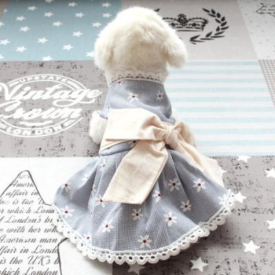[펫딘]리본 플라워 레이스 단계조절 강아지옷 원피스