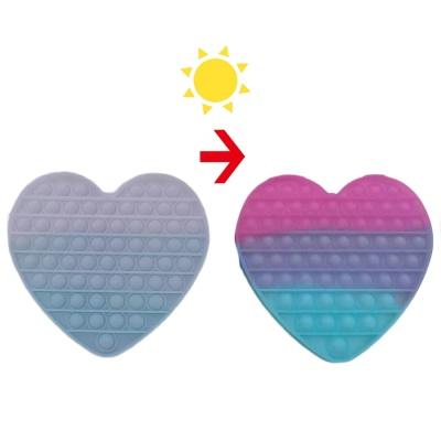 대형 20cm 색이 변하는 변색 하트 푸쉬팝 팝잇 뽁뽁이