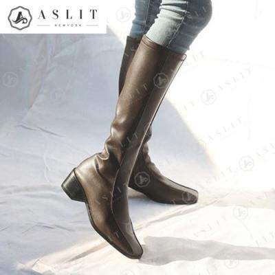 [애슬릿]여성 스퀘어 청키힐 스판 롱 부츠 5cm