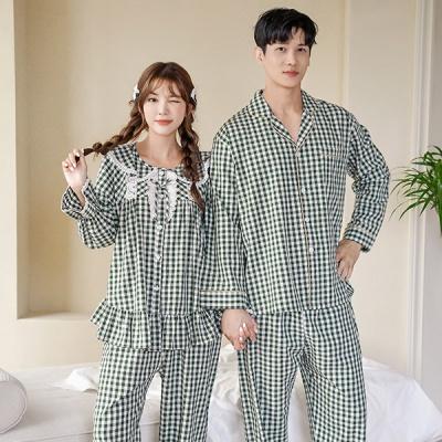 [쿠비카]그린체크 오픈형 긴팔 투피스 커플잠옷 WM275