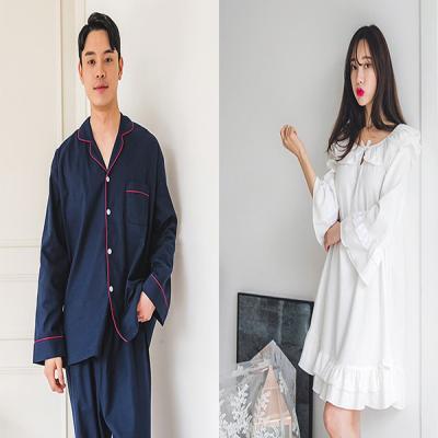 [쿠비카]프릴 숄더 기모 원피스 커플잠옷 WM130