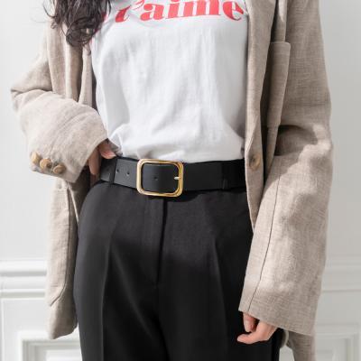 여성 벨트 베이직 금장 스퀘어버클 가죽 허리띠 아망