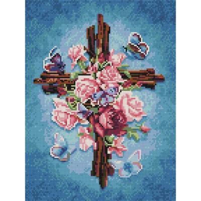 장미와 십자가 (캔버스형) 보석십자수 30x40