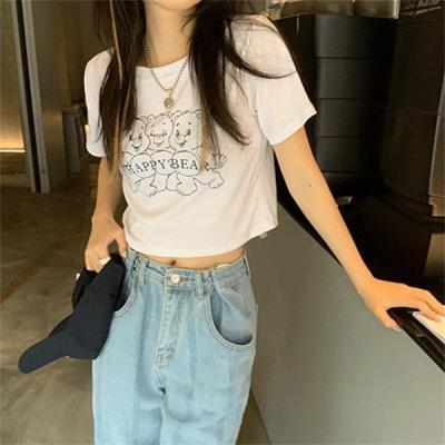 여성 데일리 여름 반팔티 티셔츠 베어 크롭