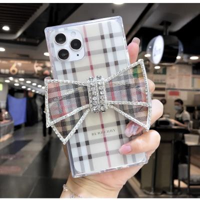 아이폰SE2 XR XS MAX 8 체크 큐빅 리본 실리콘 케이스
