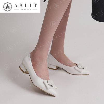[애슬릿]여자 와이드 리본 금장 로우 힐 구두 3cm