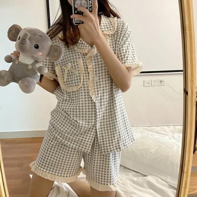 여성 홈웨어 반팔 잠옷 세트 파자마 브린드 포켓 체크
