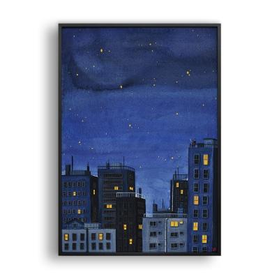 푸른 밤 (잠들지 않는 도시의 밤) / 일러스트 액자