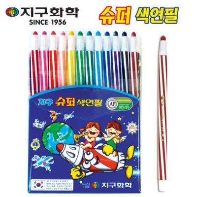 슈퍼색연필 12색 학용품 지구화학 문구 미술용품