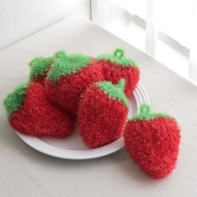 아기자기 딸기 아크릴 주방 수세미 1P