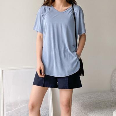 [애슬릿]국내 생산 모달 브이넥 기본 반팔 쿨 티셔츠