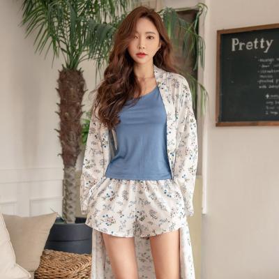 테라우드 여성용 가운 실키 로브 잠옷 3부 상하세트
