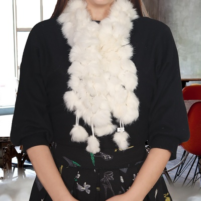 토끼털 방울 목도리(화이트) (여성용)