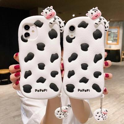 아이폰12 11 PRO MAX SE2 8 젖소 실리콘 키링 케이스