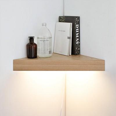 [LED]코너 선반 벽조명-무늬목