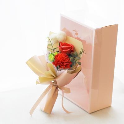 조화 폼폼 카네이션 로즈 비누꽃 미니 꽃다발 박스