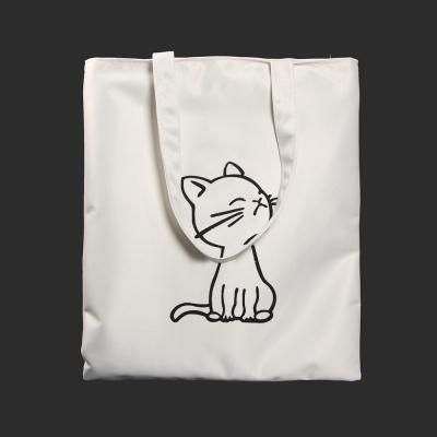 고양이 캐릭터 에코백(화이트)