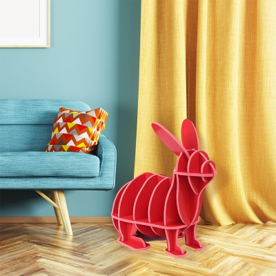 DIY 토끼 동물조형 선반 책장(레드) 책진열대