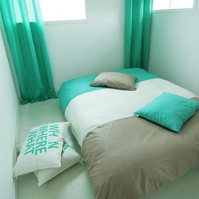 Cozy tri-color 카푸치노 그린민트 침구 - SS