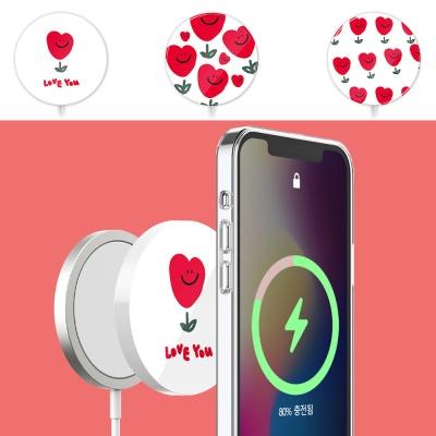 아이폰 맥세이프 무선충전기 하트 플라워 하드 케이스