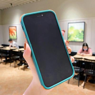 아이폰12/12MINI 컬러 테두리 심플 투명 실리콘케이스