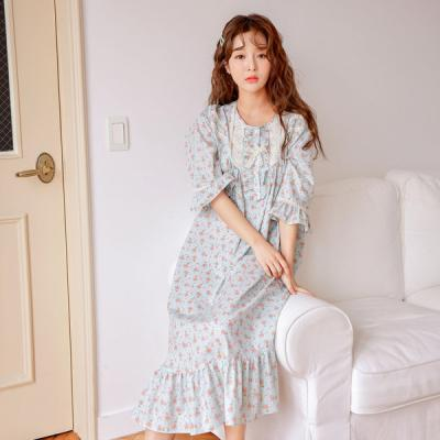 [쿠비카]프릴 순면 원피스 7부 여성잠옷 W458