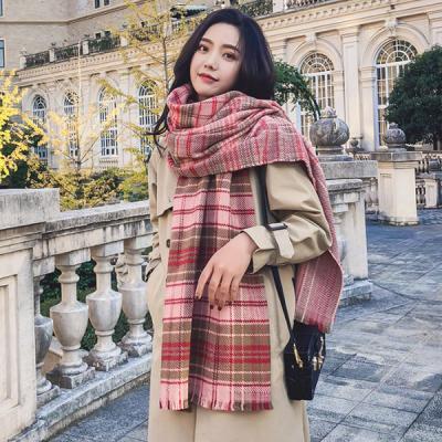아델 체크 여성 롱 겨울 스카프