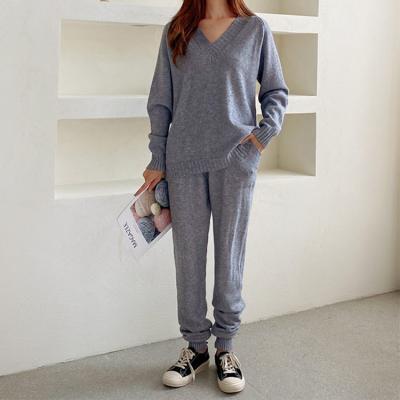 [Set] Kika V-Neck Knit + Knit Jogger Pants