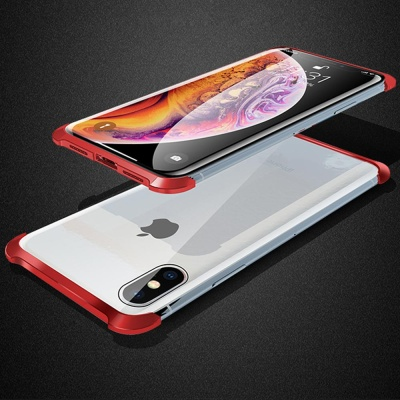 아이폰XR 풀커버 마그네틱 투명글라스 슬림 메탈 범퍼