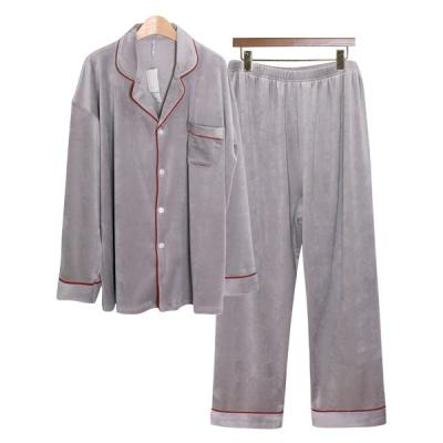 [쿠비카]보온 극세사 레드 파이핑 카라넥 남성잠옷 M211