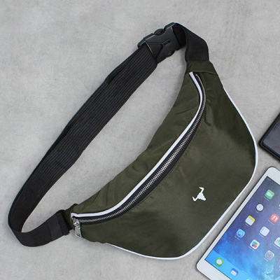 카키 BM 캐주얼 힙색 허리 등산 운동 가방 보조