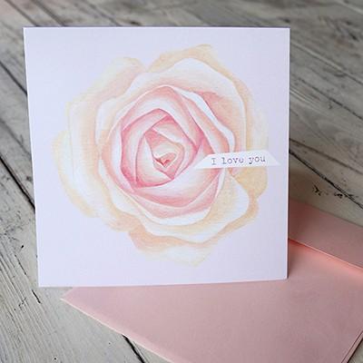 꽃 카드 'I love you'