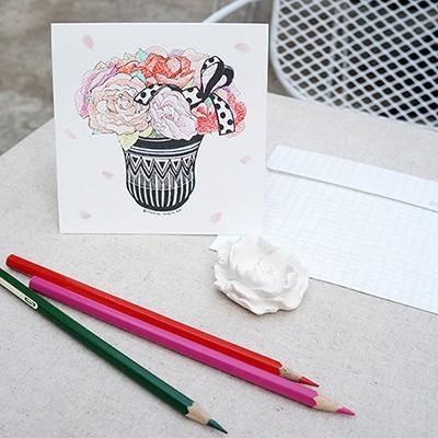 컬러링 카드 'flower coloring'