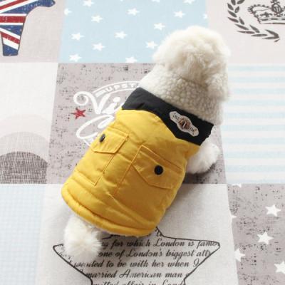[펫딘]뱃지 패딩 솜 조끼 단계조절 강아지옷 아우터