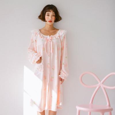 [쿠비카]보들보들 극세사 피치 원피스 여성잠옷 W388