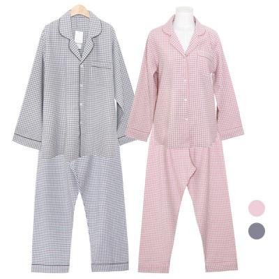 [쿠비카]미니블럭 카라 투피스 커플잠옷 WM305