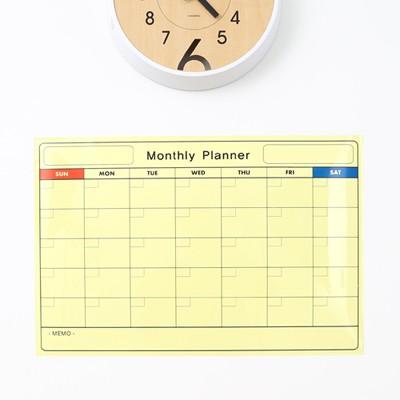 [영문]월간계획표 화이트보드시트지 스몰size(4색마카 파우치+흡착판 증정)