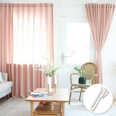 핀까지 세탁 촤르르 나비주름 커튼 핑크 (150x230cm)