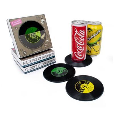 레트로 레코드판 실리콘 컵받침 코스터 2p set
