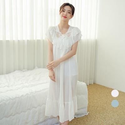 [쿠비카]이중겹겹 레이스 스칼럽 롱 원피스 잠옷 W602